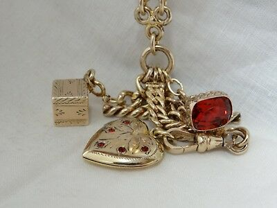Antique Wide GoldFill Valentine's Watch Chain Necklace Wax Seal Heart Locket Fob
