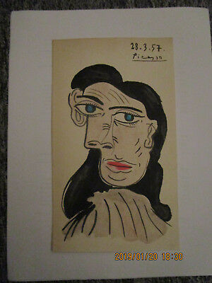 PABLO PICASSO  DRAWING SIGNED OF THE 50s