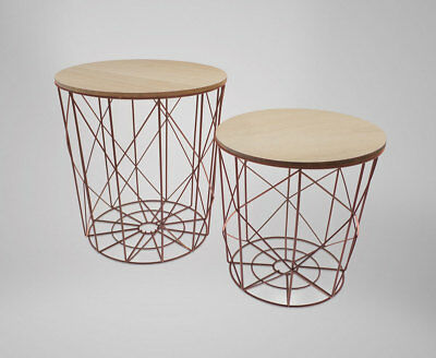 Set of 2 Industrial Style Scandi style Metal Nesting Tables / Side tables