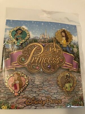 Disney Parks Trading Pins PRINCESS Belle Aurora Tiana Jasmine Sealed Set of 4