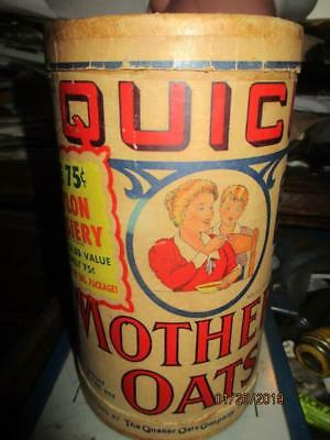 QUICK MOTHERS OATS A QUAKER CO 1 LB 4 oz BOARD CAN CHINA WARE NYLON OFFERS