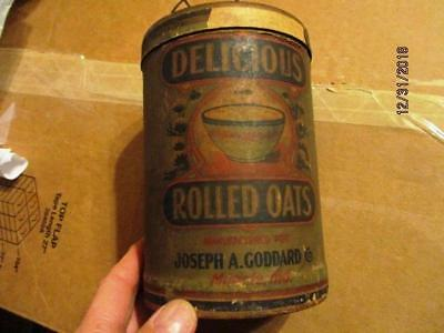 DELICIOUS ROLLED OATS JOSEPH GODDARD CO MUNCIE IND 14 oz OATMEAL BOARD CAN OLD