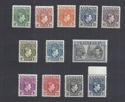 Nigeria – 12 Stamps from 1938-51 Issue – Mint – Never Hinged