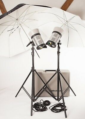 """Elinchrom 500 """"Classic"""".  2 Head Studio Flash Kit with Stands, Brollies and Case"""