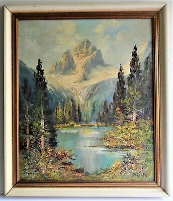 Vintage  Oil Painting On Board Signed Beautiful Alaska Landscape Mountain