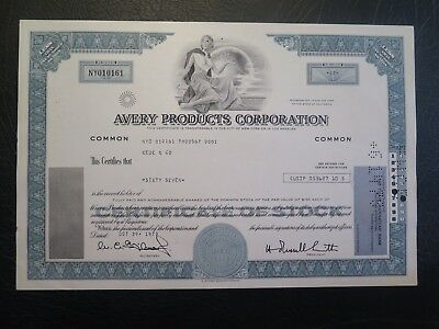 Avery Products Corporation (CA) stock certificate 1973