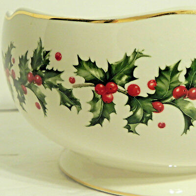 Lenox Christmas Bowl Holiday Candy Cookie Fruit Serving Floral Centerpiece