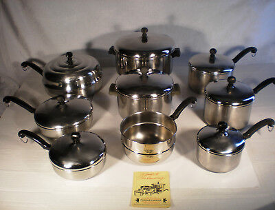 Vintage Farberware Stainless Steel Classic Cookware Set! 17 Pieces  Usa!