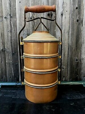 Antique multi tiered miners lunch pail bucket copper tin lined wood handle 19thc