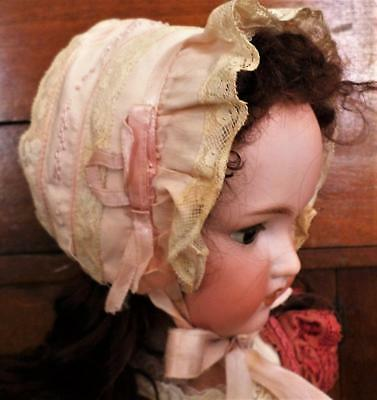 Antique Pink Silk Baby Doll Bonnet Lace Trim Embroidery White Silk Lining