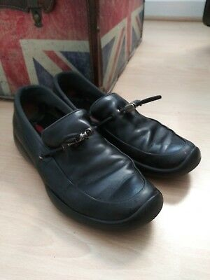 fc7a542dac6 PRADA Black Leather TOGGLE TIE Driving Loafers 2352 SHOES ~ Women s Sz. 38.5