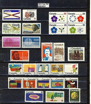 1970 #505-#531 Complete Year Sets 5¢ -25¢ Commemoratives & Christmas Issue Vfnh