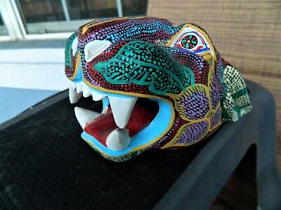 """"""" Oaxacan Wood Carving Painting Jaguar Head signed Handcrafted Folk Art Mexico."""