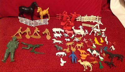 64 Piece Lot of Plastic Farm Animals Army Men Sports Figures and Much More