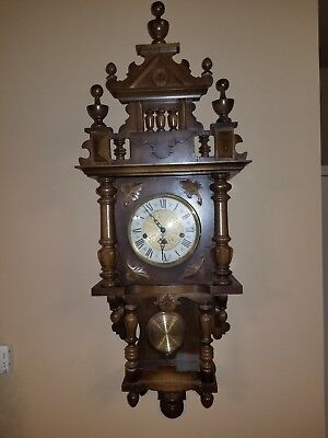 """Large Ornate Vintage German Wooden Wall Clock With Pendulum 42"""" H"""