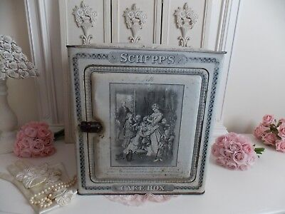 Fab Antique French Victorian White  Schepps Metal Lithograph Cake / Bread Box