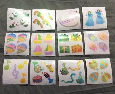 Vintage Lot of 12 mods Great 7 Opal Pearl Pearly Colorful Stickers!