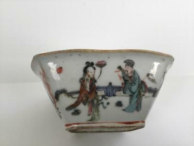 Antique Chinese Famille Rose Porcelain Bowl 8 Immortals Nr