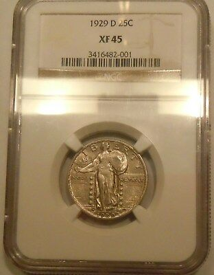 1929 D NGC XF45 Standing Liberty Quarter--silver-type coin