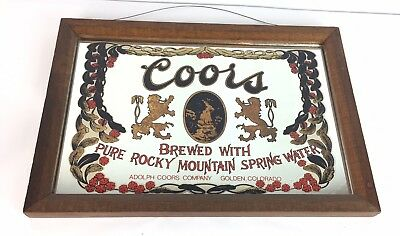 Vintage Coors Light Rocky Mountain Wood Frame Wall Mirror FAST FREE SHIPPING