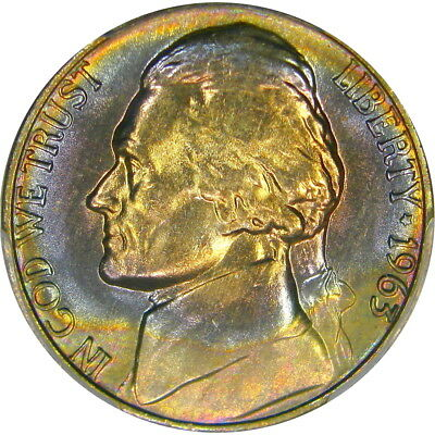 1963 5C Pcgs Ms66 Rainbow Jefferson ~ Beautiful Two-Sided Color!