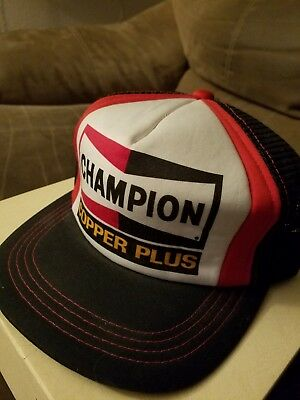 1239402f63f Vintage Champion Copper Plus Spark Plug Trucker Hat SnapBack Foam Mesh Rare