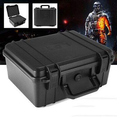 Portable Waterproof Hard Plastic Case Bag Tool Storage Box Case W/ Sponge Black