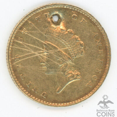 1854 Type 2 Indian Princess Gold $1 Raw Details Holed