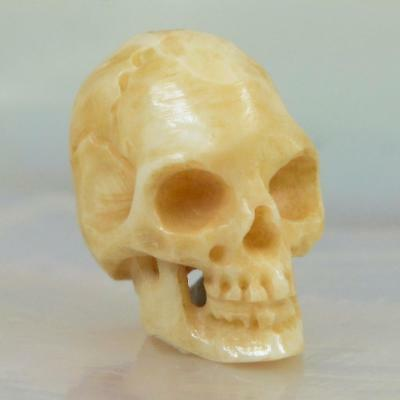 10 mm Human Skull Bead Fine Antique Patina Bovine Bone Bali Carving 1 mm drilled