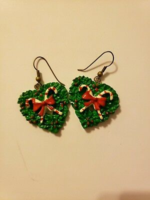 Christmas Wreath Vintage Heart Earings Candy Canes