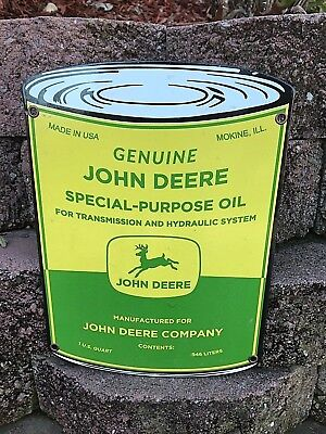 "NICE ""JOHN DEERE OIL"" PORCELAIN CAN SIGN, EXCELLENT (NEAR MINT) COND., 11""x 8"""