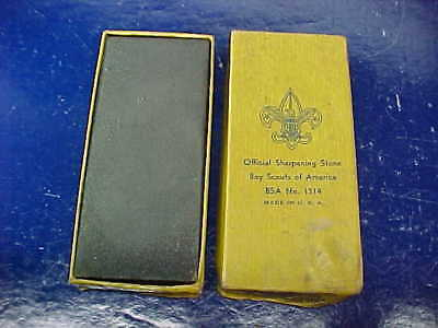 Vintage BOY SCOUT Official KNIFE SHARPENING STONE in Orig BOX