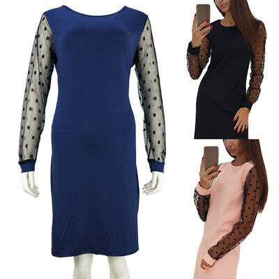 Elegant Women Casual O Neck Straight Autumn Polka Dot Mesh Sexy Mini Dress