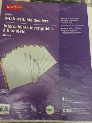 Staples 8-Tab Writable / Insertable Dividers New Sealed 4 Sets