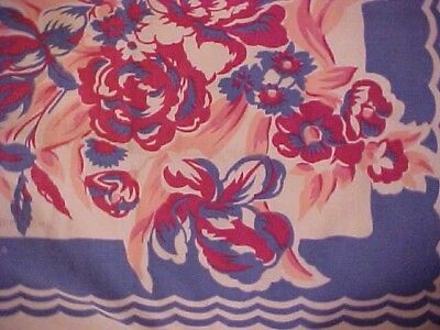 VINTAGE PRINTED TABLECLOTH; MAROON FLOWERS on BLUE DESIGN, AS IS