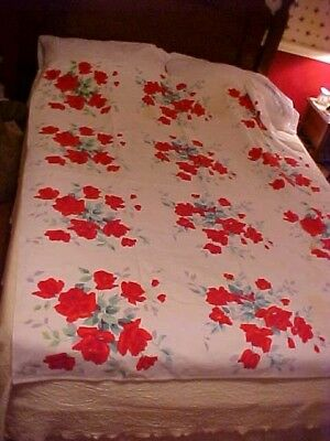 Vintage Wilendur Printed Tablecloth; Bright Red Roses, Ex Lg,  As Is