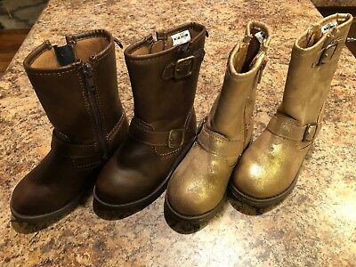 Carters Girls Toddler Boots, 2 Pair, Size 7: Brown & Iridescent Gold