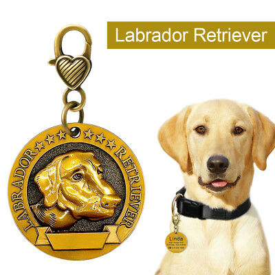 3D Copper Personalized Dog Tags Customized Name ID Collar Tag for Labrador Breed