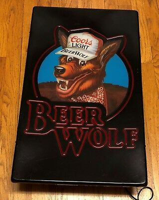 Vintage Coors Light Beer Wolf Sign/Light/Advertising/Man Cave/Bar