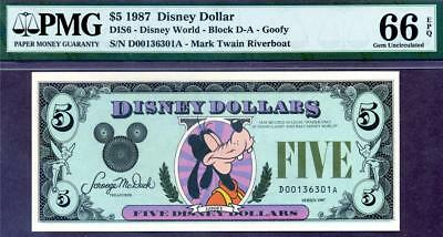 HGR SUNDAY 1987 $5 Disney Dollar-Mickey ((STUNNING)) PMG GEM UNC 66EPQ