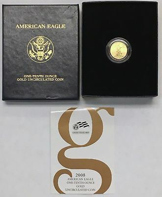 MINT COMPLETE 2008-W Burnished Die 1/10 oz $5 Gold Eagle in Box with COA