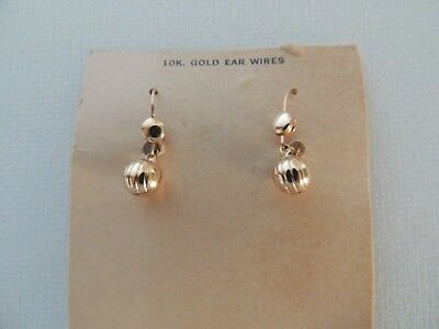 49b1106324 Vintage 60s 70s 10k Gold WIRES Ball 4 Indented Lines Dangle Earrings - ON  CARD