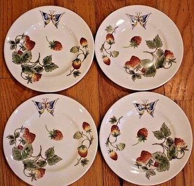 "Coalport Strawberry (Smooth) Set of 4 Bread & Butter Plates  6 1/4"" Bone China"