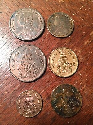 Lot Of 6 Coins Copper Bronze Thailand Rama V Solot