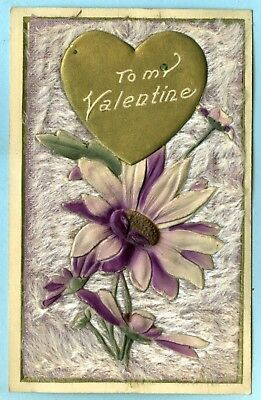 """1st of 4 Heavily Embossed, Furry Cover, """"To My Valentine"""", Purple Daisies, Heart"""