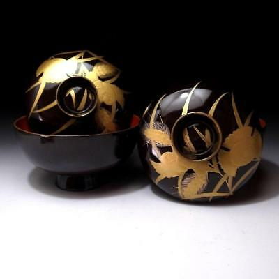 HD6: Vintage Japanese Lacquered Wooden Covered Bowls, MAKIE, FUKURA SUZUME