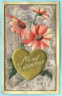 """4th of 4 Heavily Embossed, Purple Furry Cover, """"To My Valentine"""", Pink Daisies"""