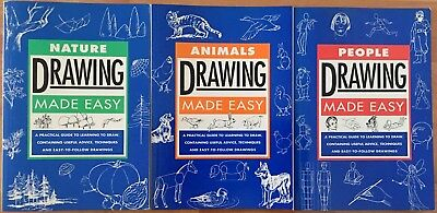 Lot of 3 ART BOOKS: Animals People Nature DRAWING MADE EASY