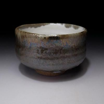 HB4: Japanese Tea bowl, Hagi ware by Famous potter, Seigan Yamane, Gold glaze