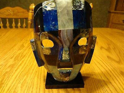 Rare Blue/mother Of Pearl Mexican Mayan Handmade Aztec Stone Mosaic Mask